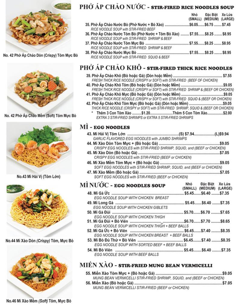 Vietnamese Food Menu images